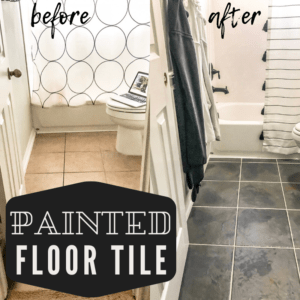 painted floor tile in the bathroom from tan to a gray faux slate look