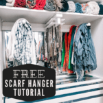 scarves beautifully displayed in an organized closet on a scarf hanger